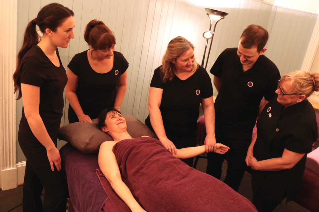 Massage lesson at Cheltenham School of Complementary Therapy & Beauty